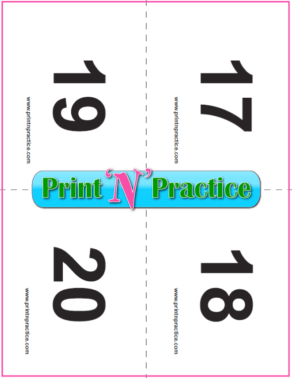 Preschool Number Flashcards 17-20