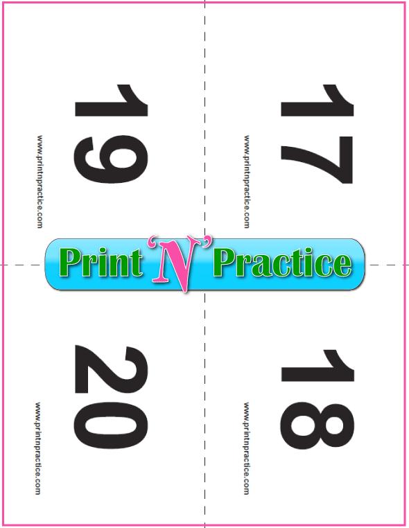 Preschool Number Flashcards 17-20