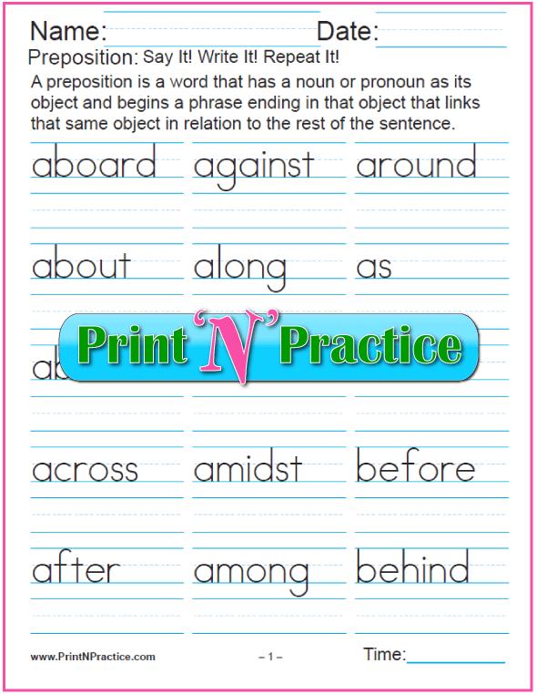 Manuscript list of prepositions to copy. Preposition list worksheets.