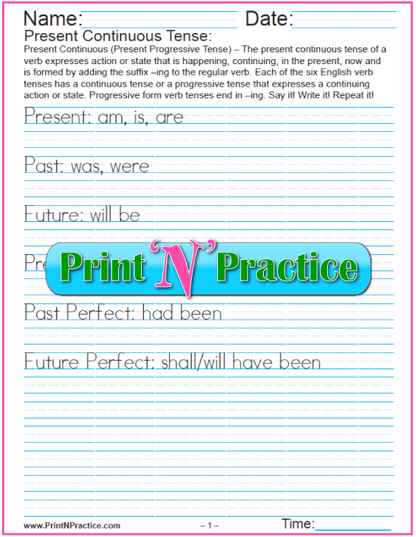 Sample English Grammar Worksheet: Verb Tense Manuscript