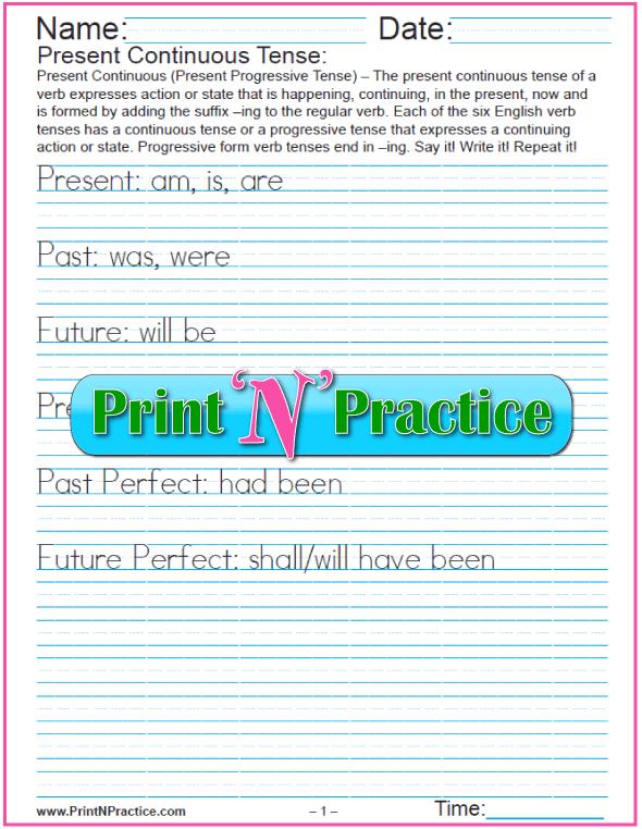 Present Continuous Tense Worksheets #VerbTenseWorksheets #TensesInEnglishGrammar
