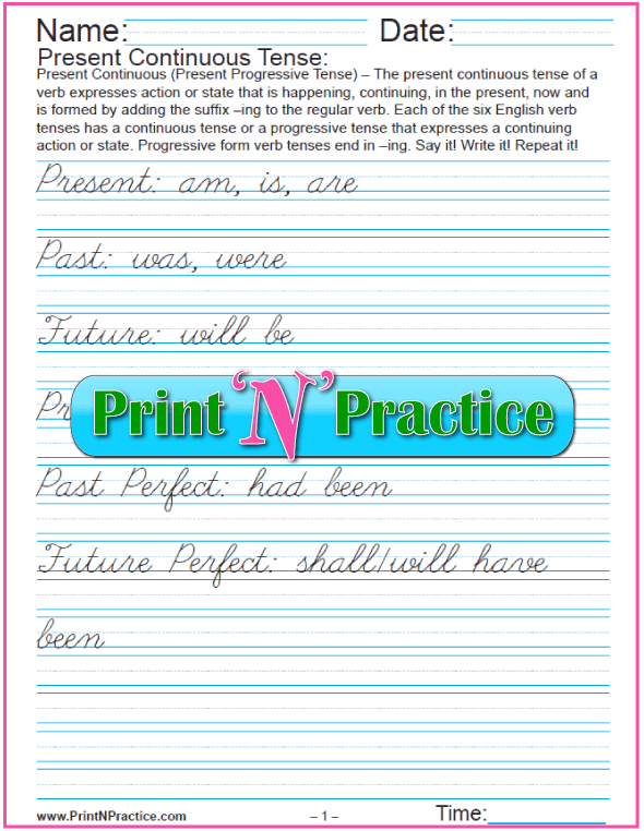 Sample English Grammar Worksheet: Verb Tense Cursive