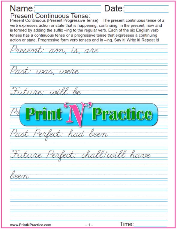 Cursive Writing Present Continuous Tense Worksheets #PresentContinuous #VerbTensesWorksheets