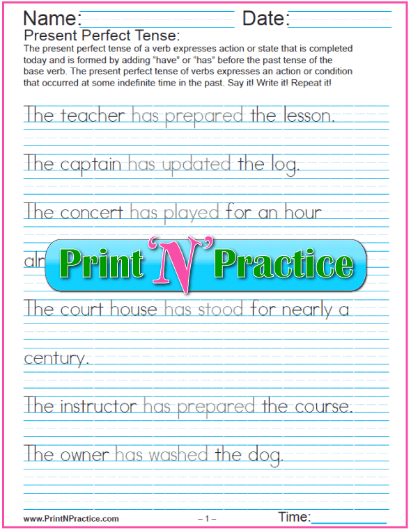 Present Perfect Tense Worksheets