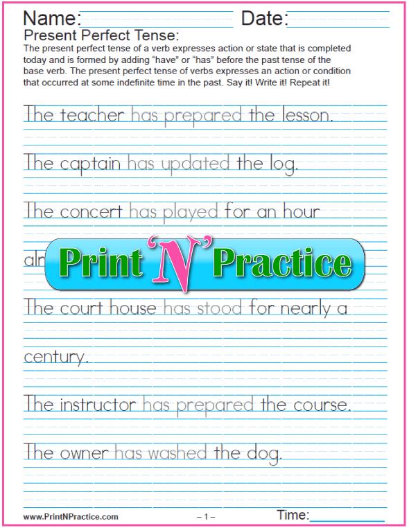 Present Perfect Tense Worksheets