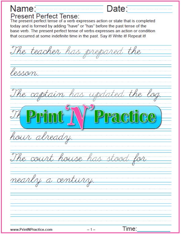 Cursive Present Perfect Tense Worksheets