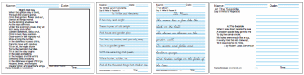 A Child's Garden of Verses - Printable Kids Worksheets: reading, poetry, cursive handwriting worksheets.