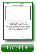 The Pledge of Allegiance 1st Grade Reading Comprehension Worksheets