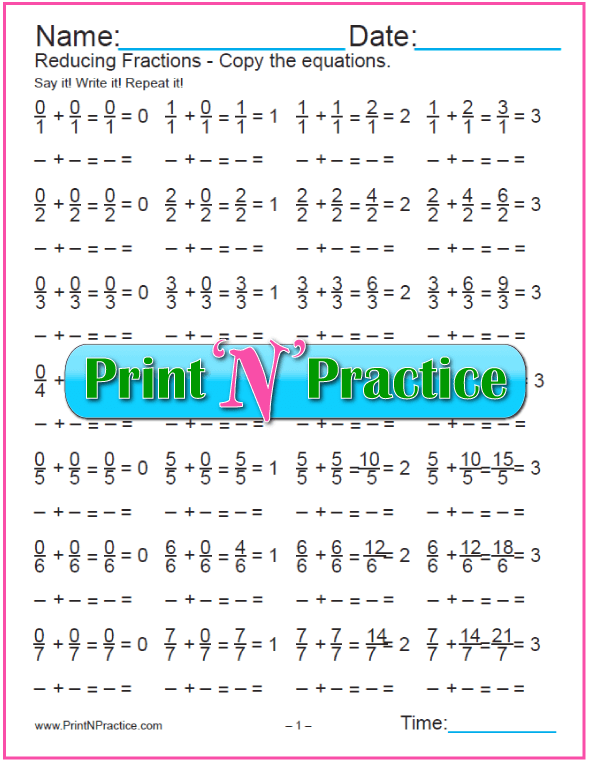 Printable Fraction Worksheets: Reducing Fractions - Easy Copywork