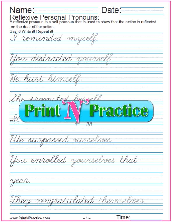 Printable Grammar Worksheets: Reflexive Personal Pronouns in Cursive Writing