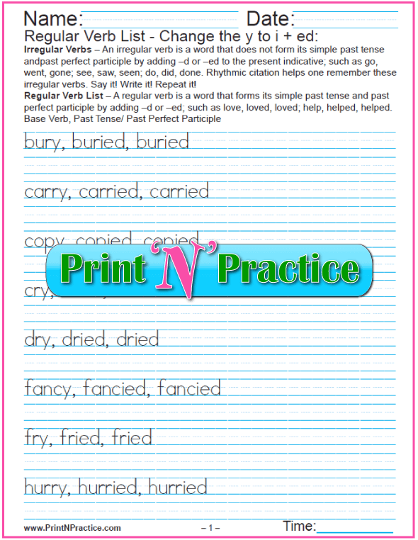 Printable Regular Verb Worksheets: Changing y to i and add -ed