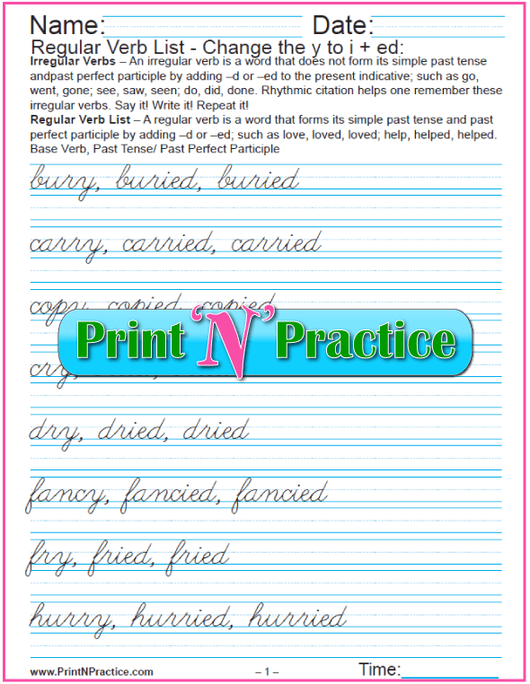 Printable Regular Verb Worksheets: Changing y to i and add -ed Cursive