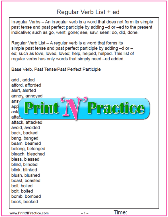 Printable Regular Verb Worksheets: Changing y to i and add ed