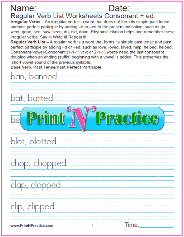 Regular Past Verbs Worksheets: Add Consonant -ed