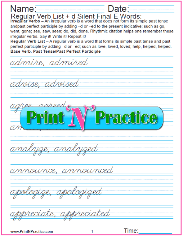 Cursive Regular Verbs ed Worksheets: Silent Final -e Words add -d