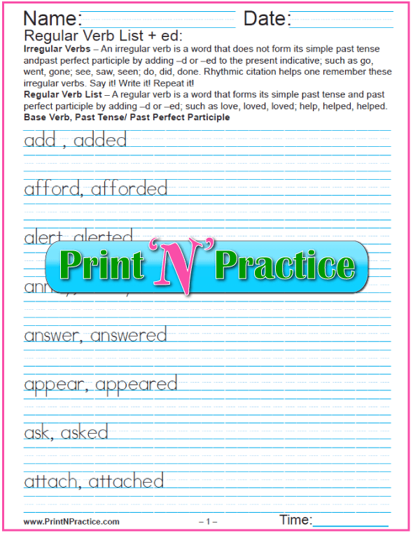Regular Verb List Worksheets: Just add -ed