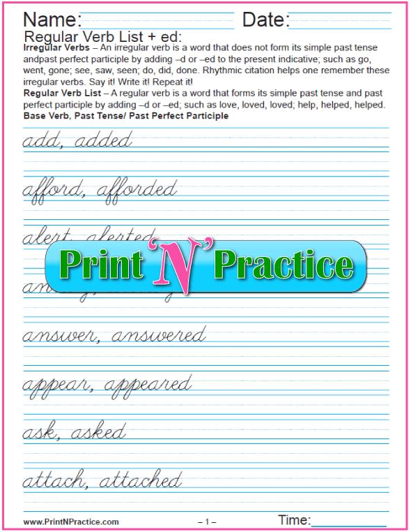 Cursive Regular Verb List: Just add -ed