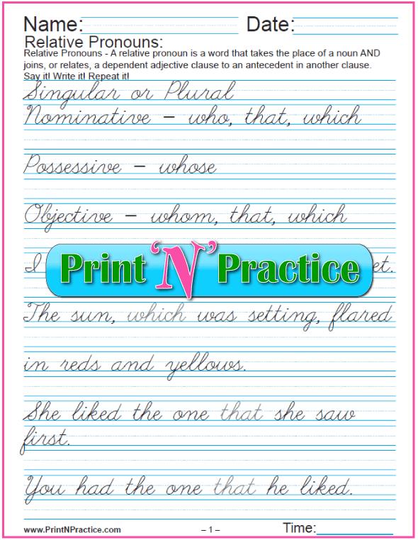 Cursive Relative Pronouns Exercises