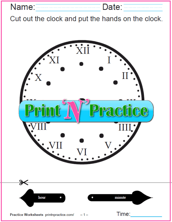 Roman Numeral Clock Worksheet