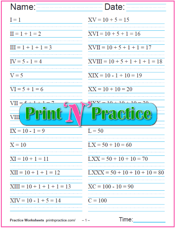 Printable Worksheet Of Roman Numeral Equations.