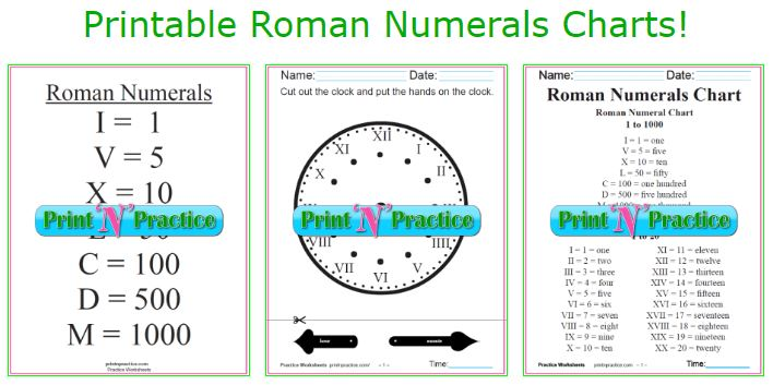 Roman Numerals chart and Roman numeral conversion worksheets.