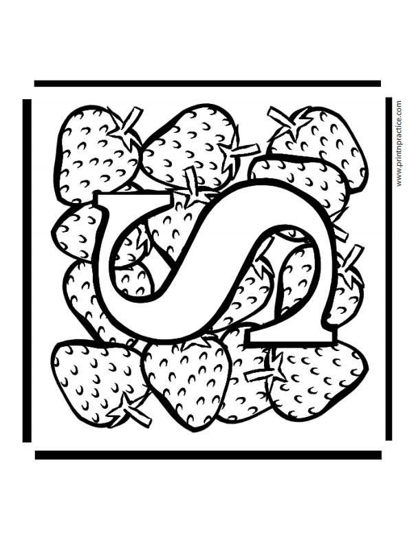 S For Strawberry Alphabet Printable Coloring