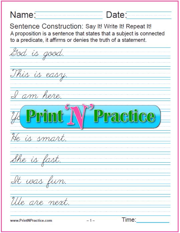 Printable Simple Sentence Worksheets