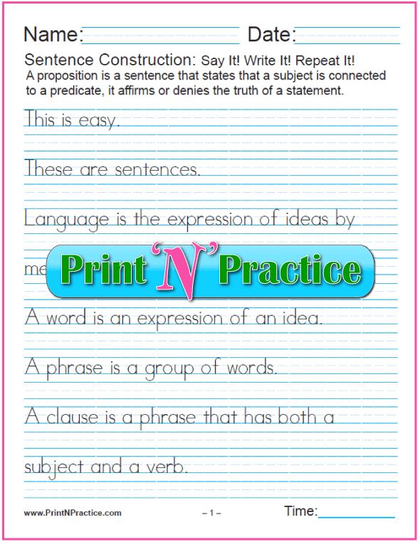 Sentence Construction Worksheets