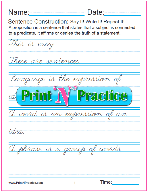 What Is A Simple Sentence? Cursive Sentences Using English ...