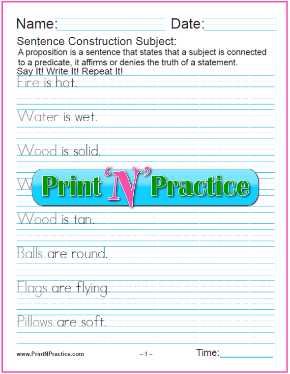 Sentence Worksheets: Subjects