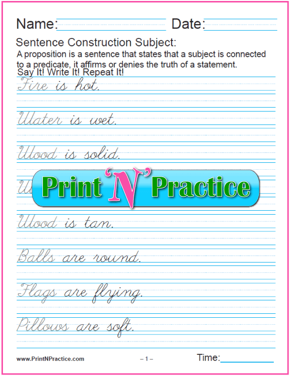 Cursive Sentence Worksheets: Subjects