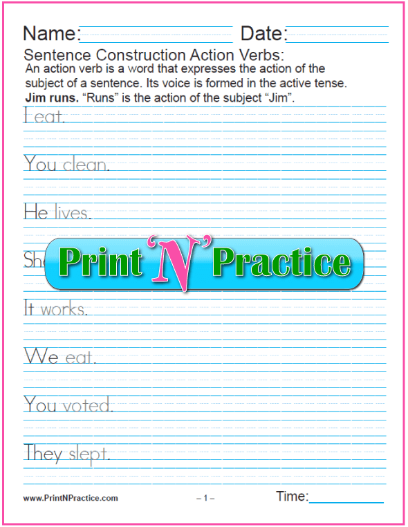 3 Pages - Action Verb Examples