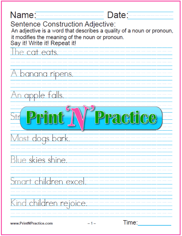 Article Adjectives Worksheets - Manuscript, 1 page.