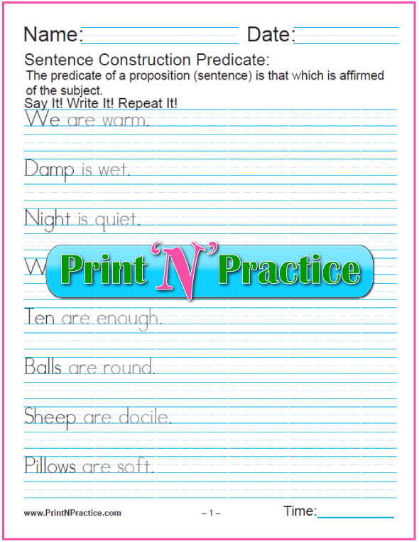 Subject Predicate Worksheets - Is and Are.