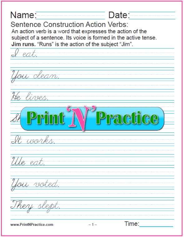 3 Pages - Cursive Action Verb Examples