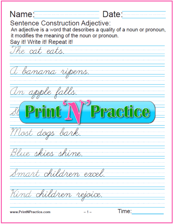 Article Adjectives Worksheets - Cursive Writing, 1 page.