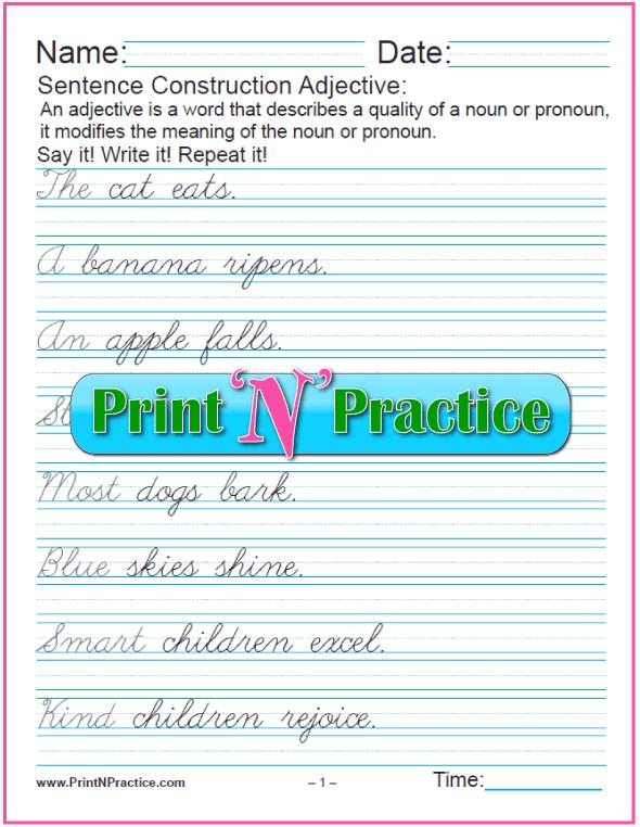 Cursive Adjectives In Sentences