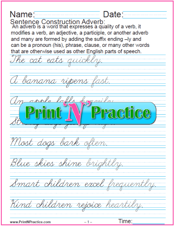 Printable Adverb Worksheets In Cursive: Printable Adverb Worksheets - Practice using adverbs, adverbial phrases, and adverb clauses.