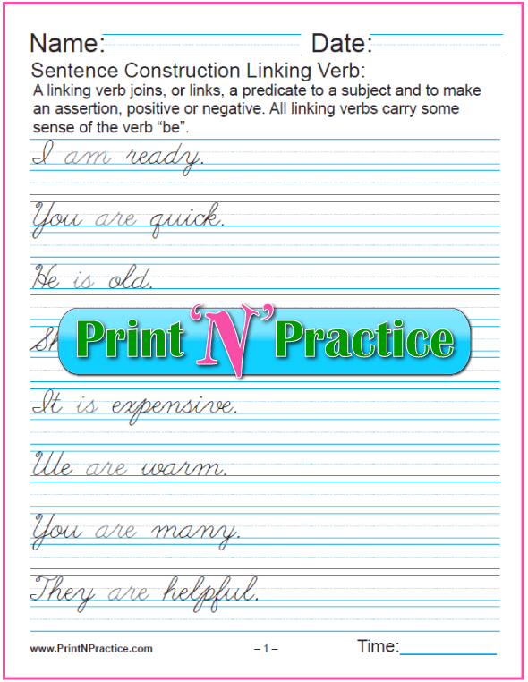Sentence Construction Worksheets - Cursive Linking Verbs Sentences.