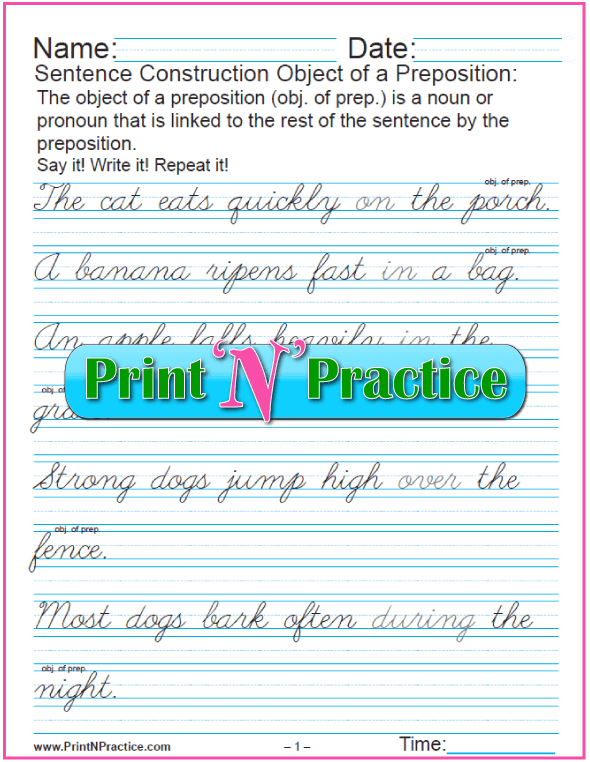 Cursive Printable Preposition Worksheets