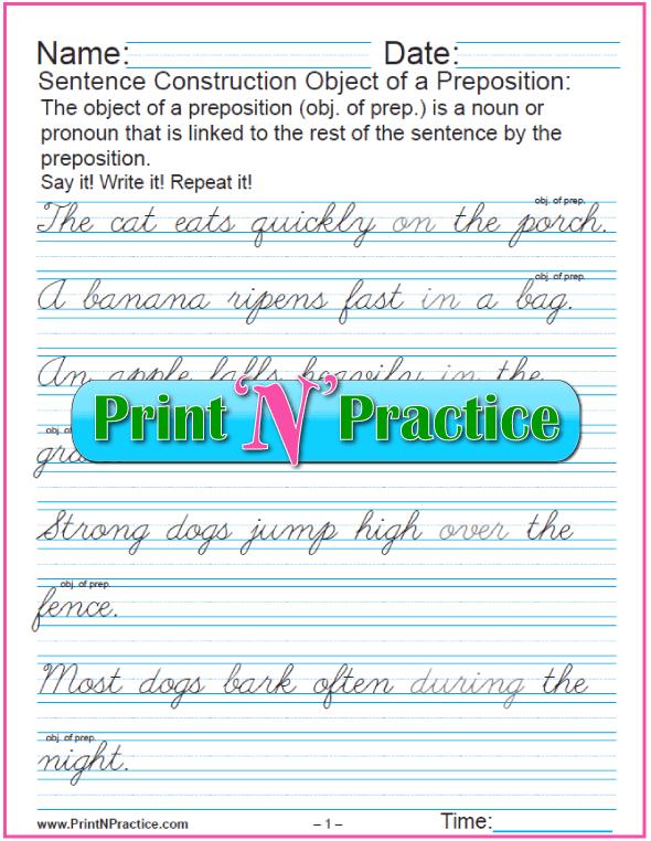 Cursive Printable Preposition Worksheets
