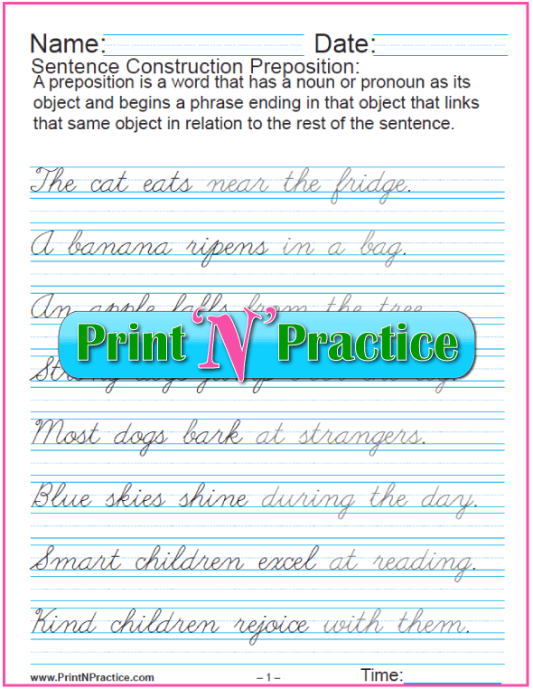 Cursive Preposition Sentences