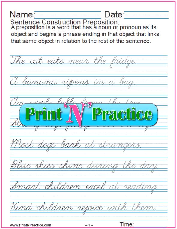 Cursive Preposition Sentences