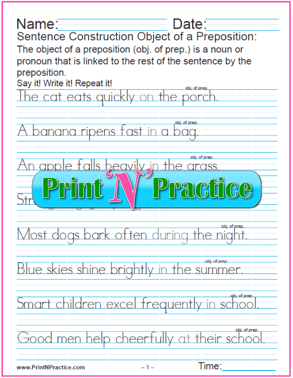 Printable Preposition Worksheets in Manuscript