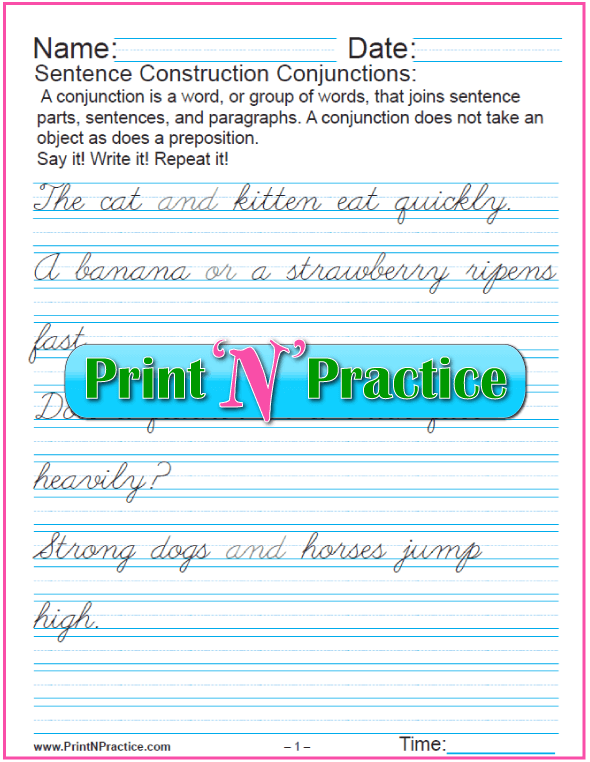 3 Pages: Conjunctions Worksheets - Cursive Writing Practice.