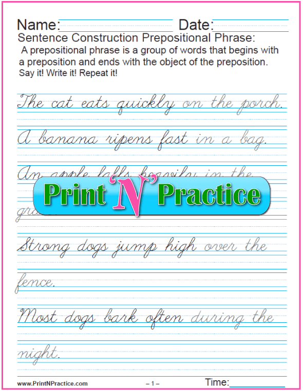 Cursive Prepositional Phrase Sentences
