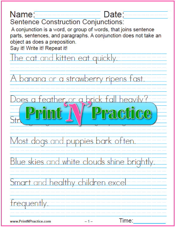 2 Pages: Conjunctions Worksheets - Manuscript writing.