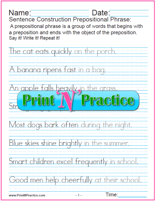 Prepositional Phrase Sentences