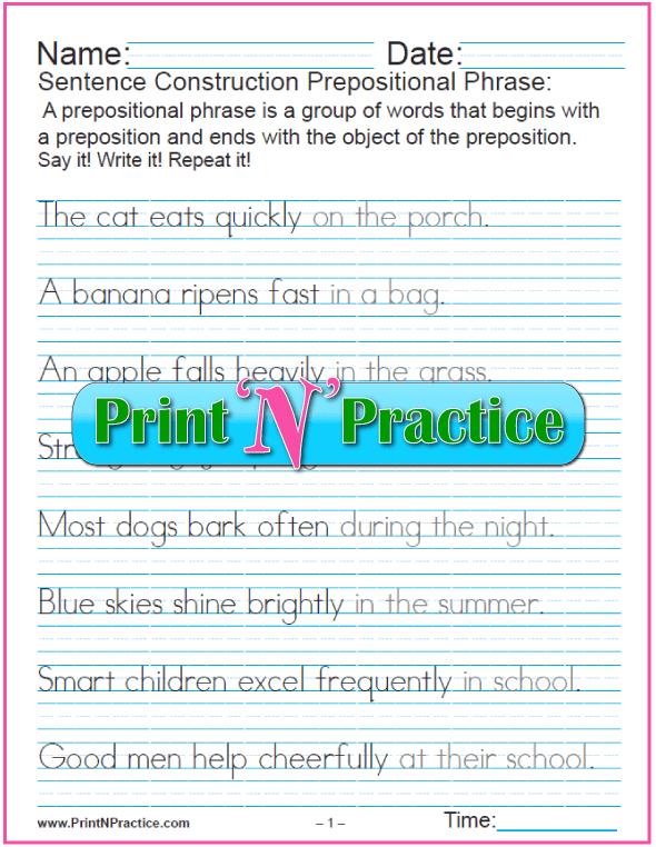 Prepositional Phrase Sentences