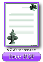 Celtic Printable Lined Paper - Cross and Shamrock